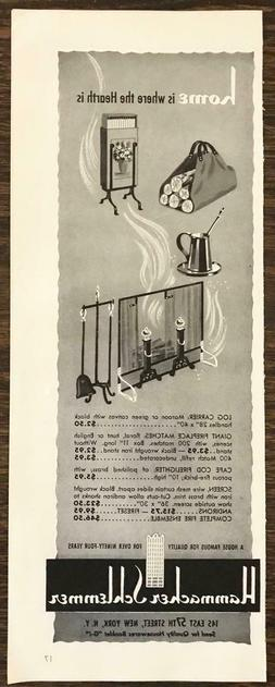 1942 Hammacher Schlemmer Print Ad Home is Where the Hearth I
