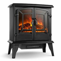 """20"""" Infrared Quartz Electric Fireplace Heater 1400W 2 Drs St"""