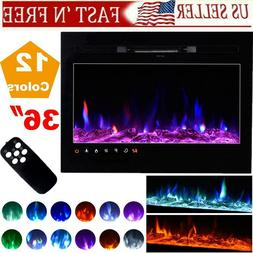 """36"""" Wall Mounted Insert Electric Fireplace Heater w/ Remote"""