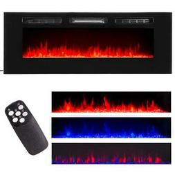"""60"""" Contemporary Electric Fireplace Wall Mounted Heater Mult"""