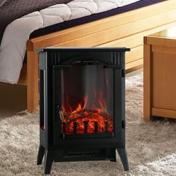 750/1500W Electric Heater Fireplace Adjust Free Standing Woo