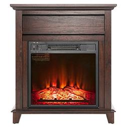 """AKDY 27"""" Electric Fireplace Freestanding Brown Wooden Mantel"""