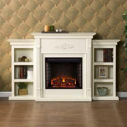 Southern Enterprises Electric Fireplace with Bookcases, Ivor