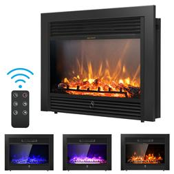 """Costway 28.5"""" Fireplace Electric Embedded Insert Heater Glas"""