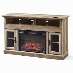 """Beautiful Fireplace Media Console 60"""" TV Safety-Tempered Gla"""