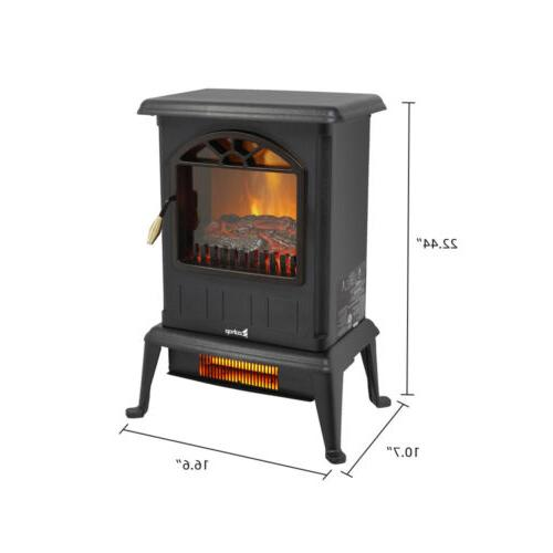 1500W Portable Stove Space Heater Flame Freestanding