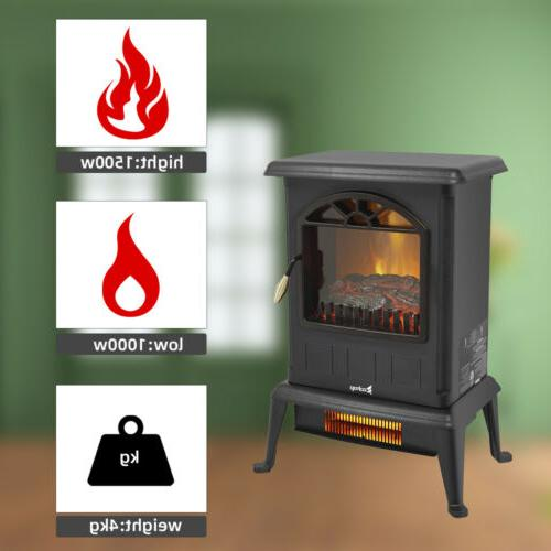 1500W Electric Fireplace Stove Space Heater Flame Freestanding