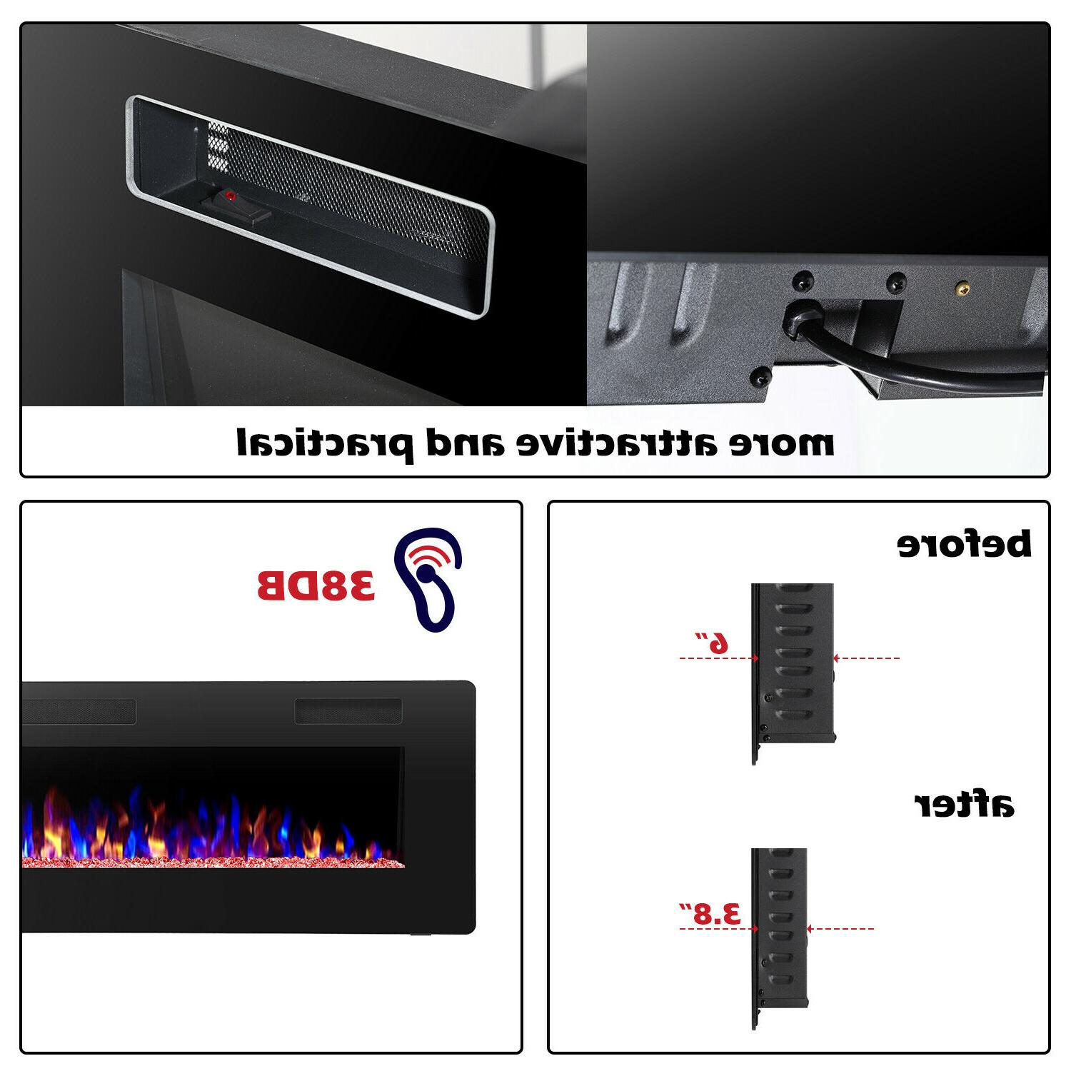 """60"""" Fireplace,Recessed&Wall Thin$Low Noise,Remote Control"""