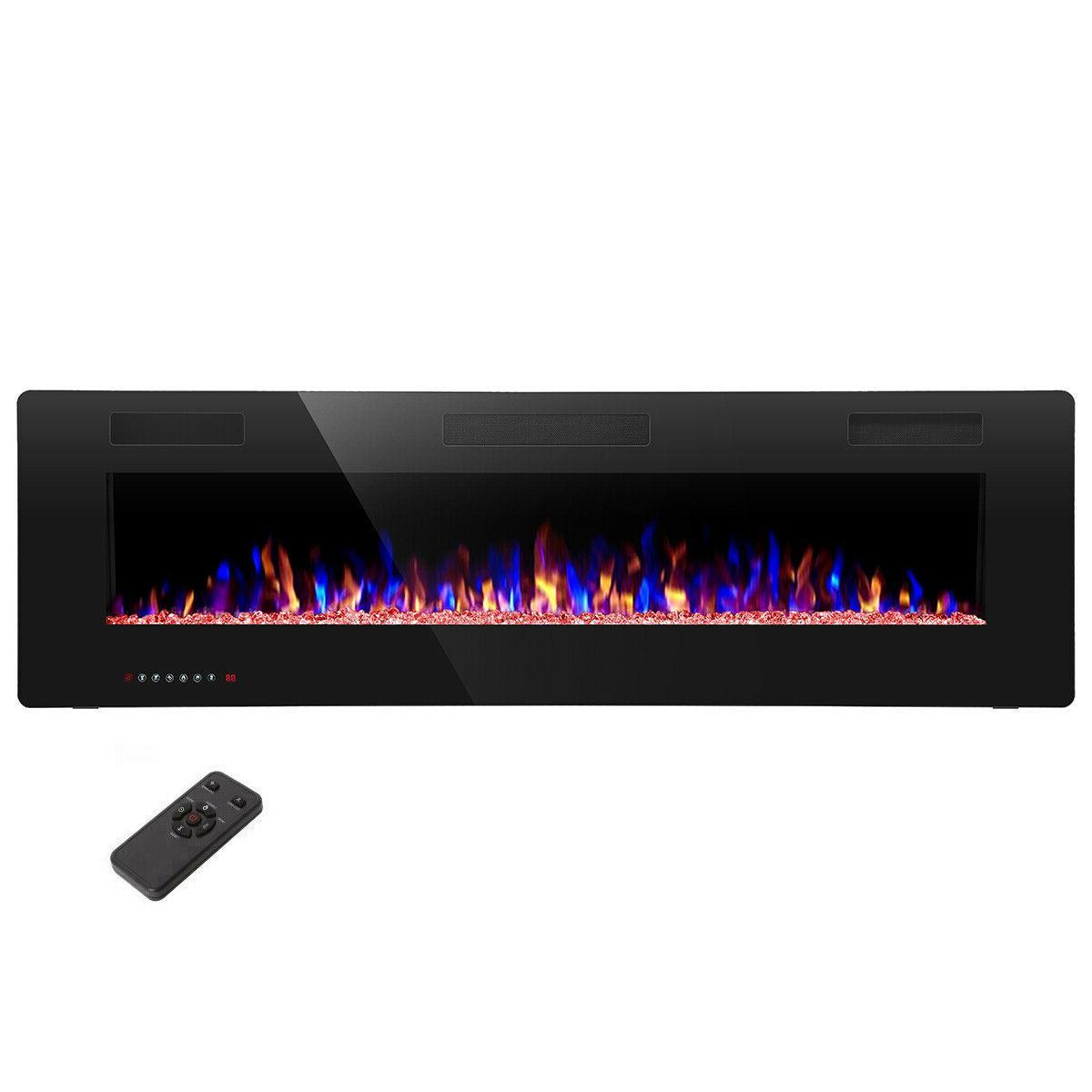 60 electric fireplace recessed and wall mounted
