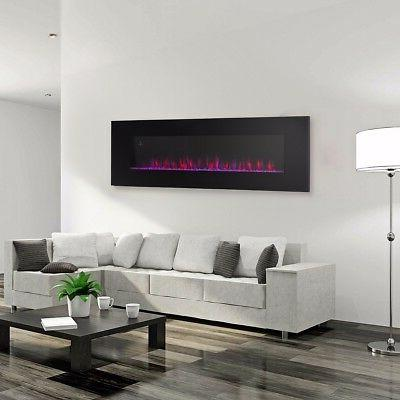 contemporary electric fireplace black 50 wall mount