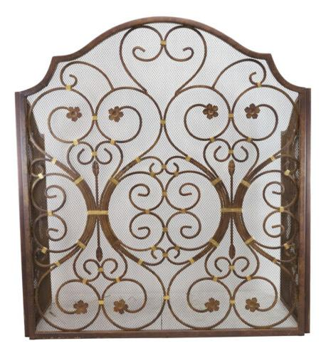 """Large 53""""W Iron Vintage Floral 3 Panel Fireplace"""