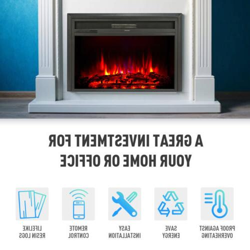 """32"""" Recessed Electric Heater Fireplace 6 Effects Stands"""