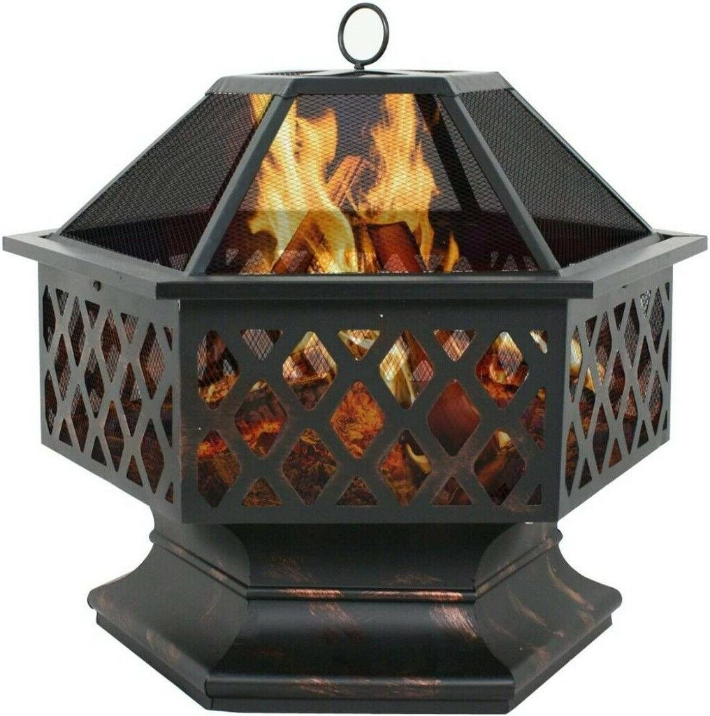 us hex shaped patio fire pit outdoor