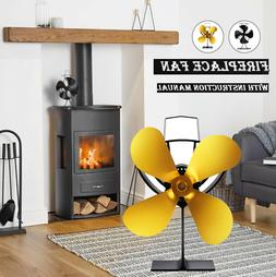 ON SALE! 4-Blade Heat Powered Wood Stove Fan with Temperatur
