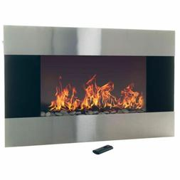 stainless steel electric fireplace with wall mount